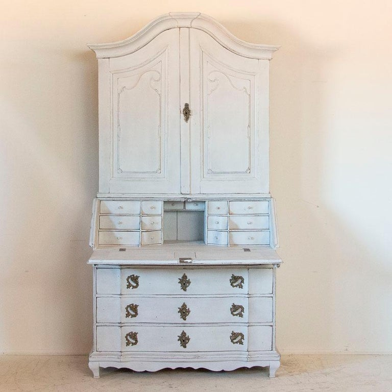 Swedish Antique White Painted Secretary from Sweden For Sale
