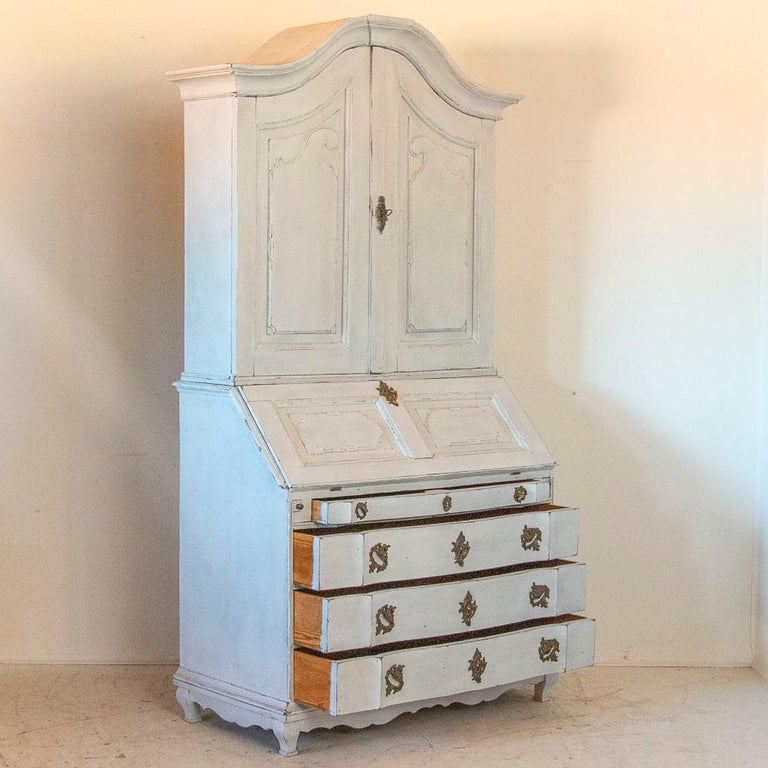 19th Century Antique White Painted Secretary from Sweden For Sale