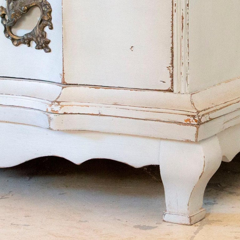 Wood Antique White Painted Secretary from Sweden For Sale