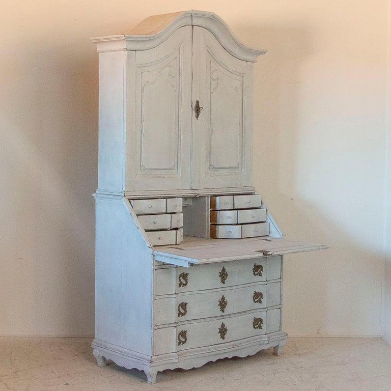 Antique White Painted Secretary from Sweden For Sale 1