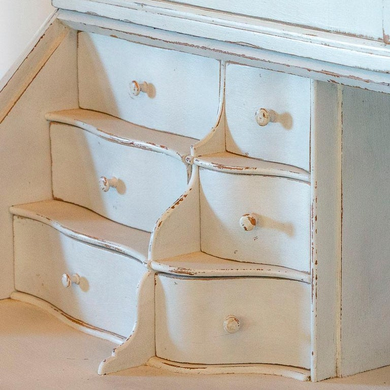 Antique White Painted Secretary from Sweden For Sale 2
