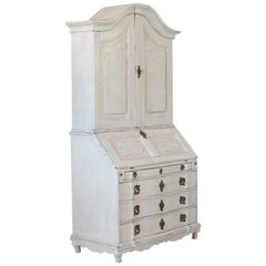 Antique White Painted Secretary from Sweden