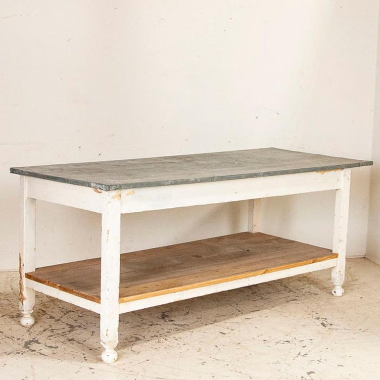20th Century Antique White Painted Work Farm Table with Zinc Top, Kitchen Island