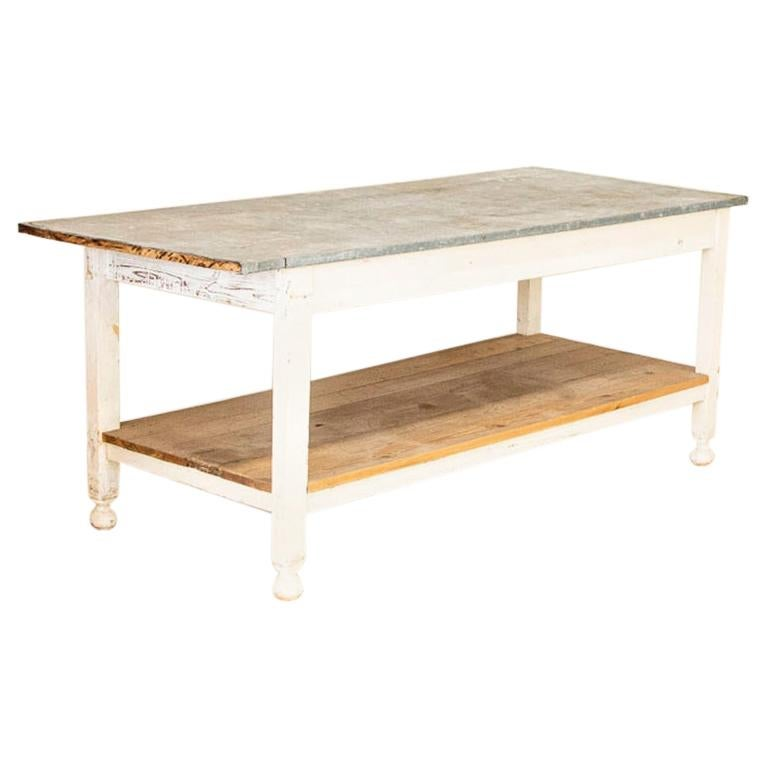 Antique White Painted Work Farm Table with Zinc Top, Kitchen Island