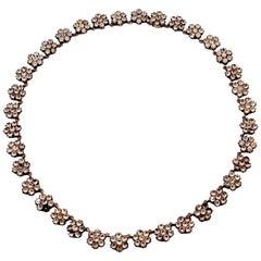 Antique Paste Silver Cluster Necklace