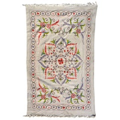 Antique White Pretty Soft Flower Pastel Wall Blanket Tapestry Bohemian, 1960s