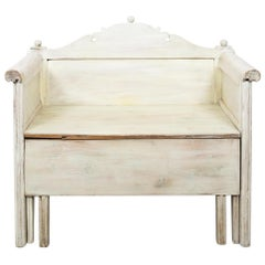 Antique White Swedish Country Storage Bench