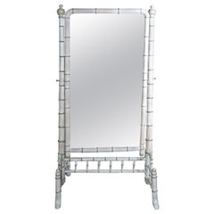 Antique White Washed Faux Bamboo Cheval Mirror, circa 1870
