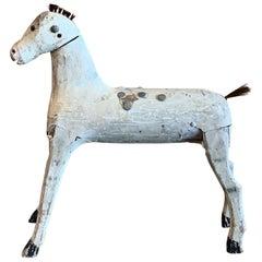 Antique White Wooden Horse