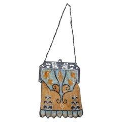 Antique Whiting Davis Art Deco Enamel Mesh Bag Purse Ming Clasp Flapper Boho
