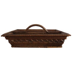 Antique Wicker and Cane Tray with Handle Cutlery Flatware Basket