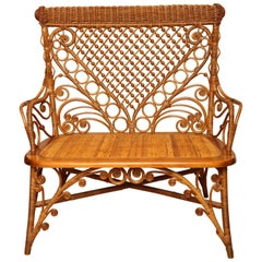 Antique Wicker and Rattan Settee