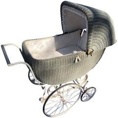 Antique Wicker Baby Carriage with Spring Suspension Original Wheels, Dior Fabric