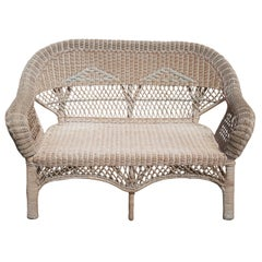 Antique Wicker Camelback Rocking Chair and Settee Loveseat Bench Rocker