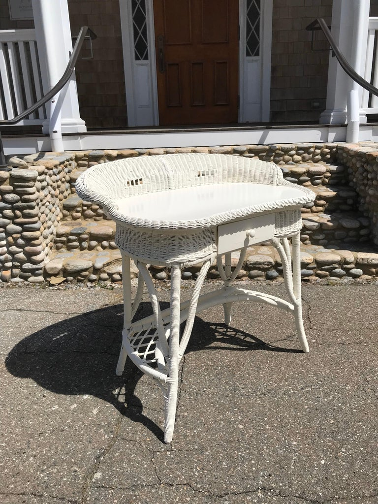 Hand-Woven Antique Wicker Desk and Chair For Sale
