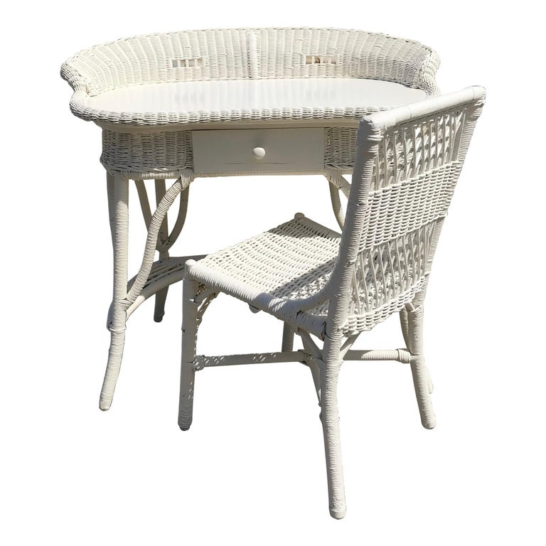 Antique Wicker Desk and Chair For Sale