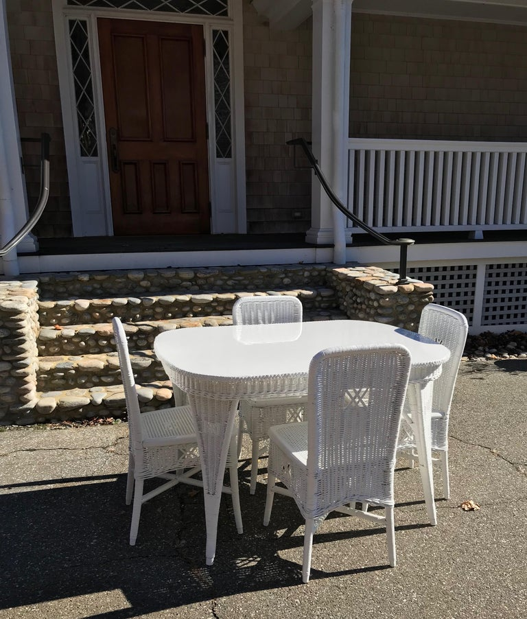 American Antique Wicker Dining Table and Chairs For Sale