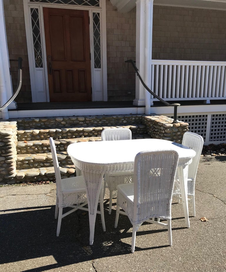 Hand-Crafted Antique Wicker Dining Table and Chairs For Sale