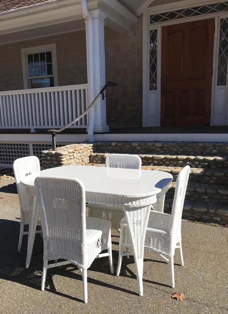 Early 20th Century Antique Wicker Dining Table and Chairs For Sale