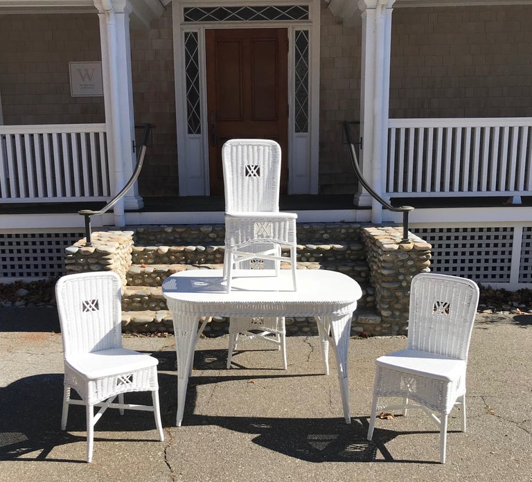Antique Wicker Dining Table and Chairs For Sale 1