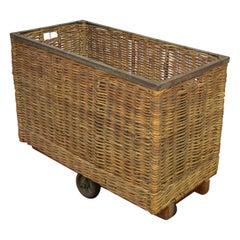 Antique Wicker Factory Basket on Wheels