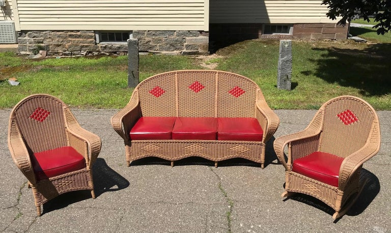 Hand-Woven Antique Wicker Porch Set For Sale