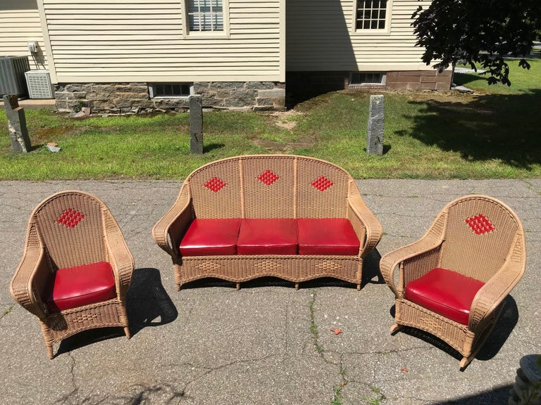 Antique Wicker Porch Set In Good Condition For Sale In Old Saybrook, CT
