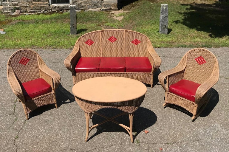 Early 20th Century Antique Wicker Porch Set For Sale