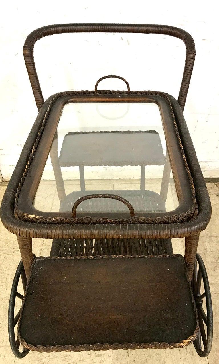 American Antique Wicker Tea Trolley Bar Cart For Sale