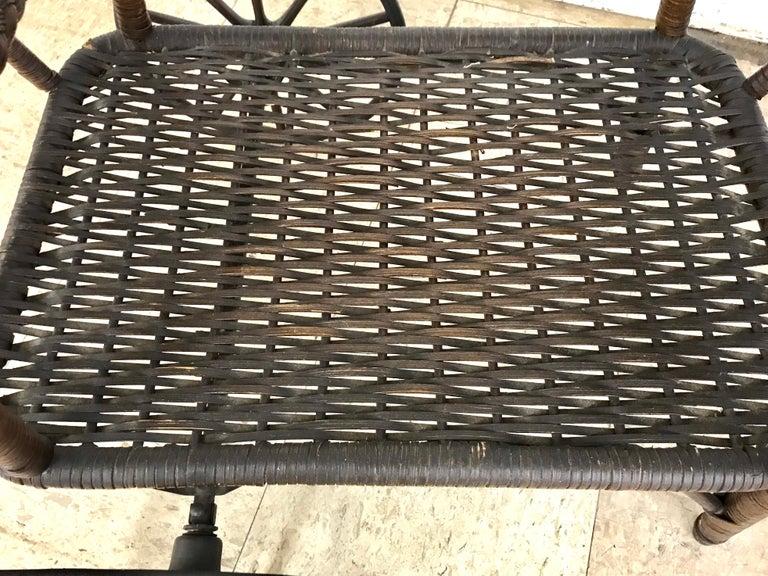 20th Century Antique Wicker Tea Trolley Bar Cart For Sale