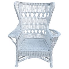 Antique Wicker Wingback Armchair