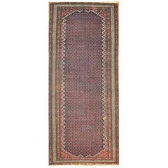 Antique Wide and Long Hand Knotted Wool Persian Malayyer Rug