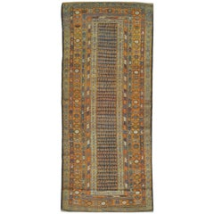 Antique Handmade Wool Wide Persian Kurdish Runner Rug