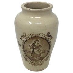 Antique Wigtownshire Creamery Co Stranraer Stoneware Transferware Pot