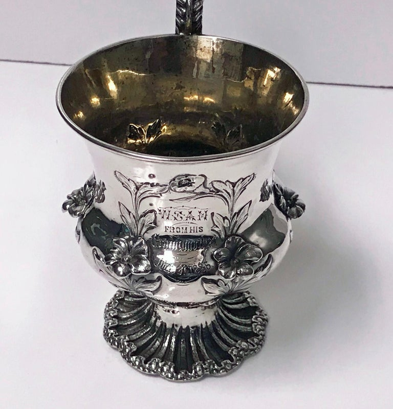 Rococo Antique William IV Sterling Silver Large Mug, London, 1834, Jonathan For Sale