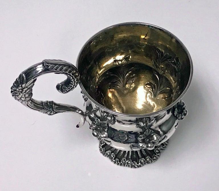 English Antique William IV Sterling Silver Large Mug, London, 1834, Jonathan For Sale