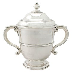 Antique William III Britannia Standard Silver Cup and Cover, 1600s