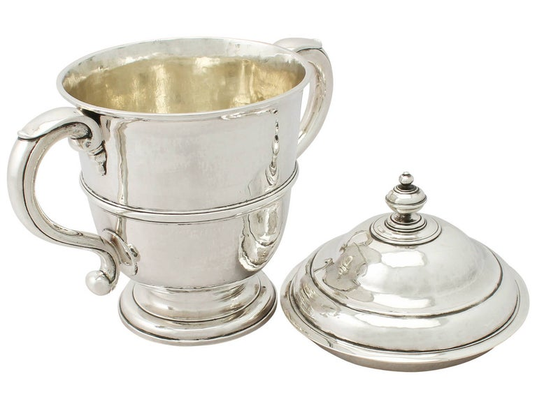 Other 1600s Antique William III Britannia Standard Silver Cup and Cover