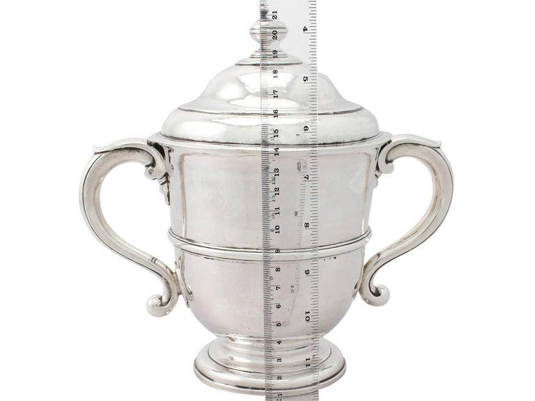 1600s Antique William III Britannia Standard Silver Cup and Cover 1