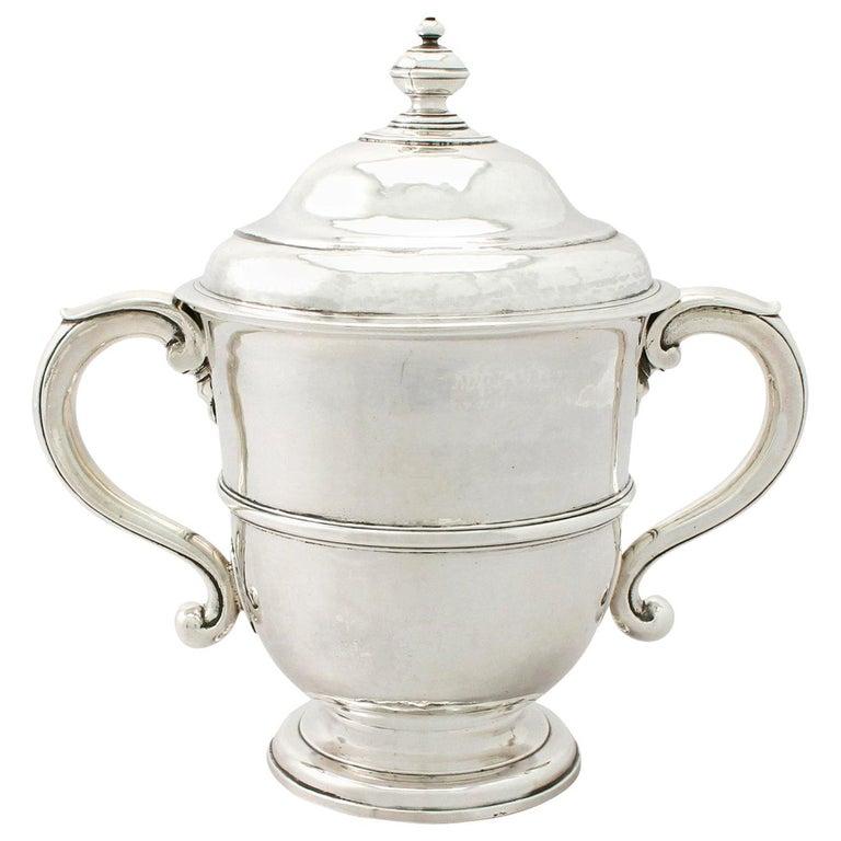 1600s Antique William III Britannia Standard Silver Cup and Cover