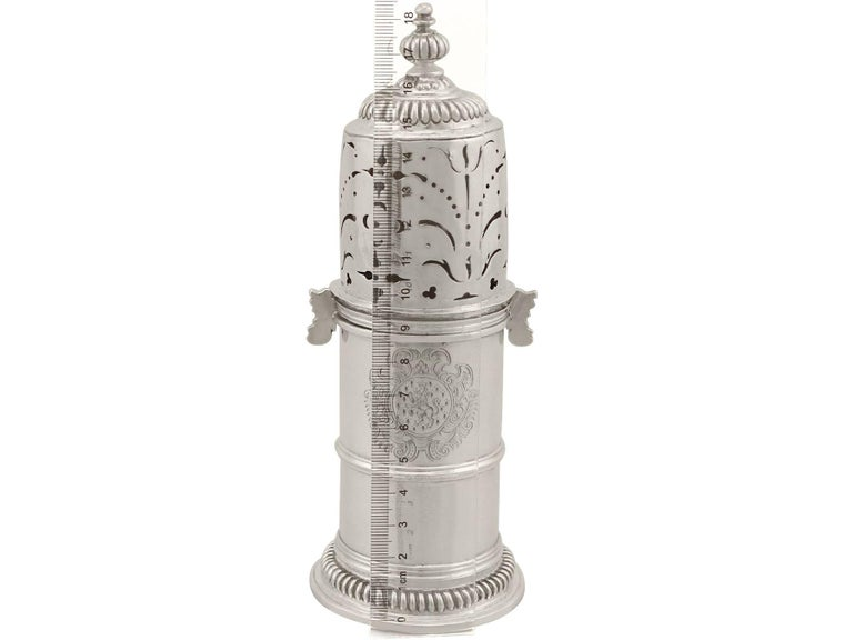 Antique William III Britannia Standard Silver Lighthouse Style Caster For Sale 7