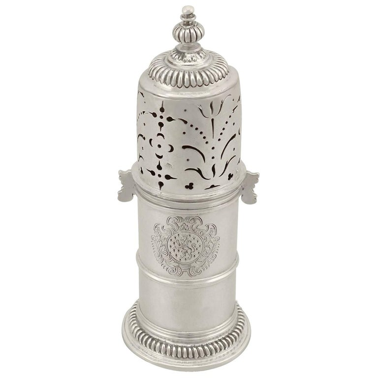 Antique William III Britannia Standard Silver Lighthouse Style Caster For Sale