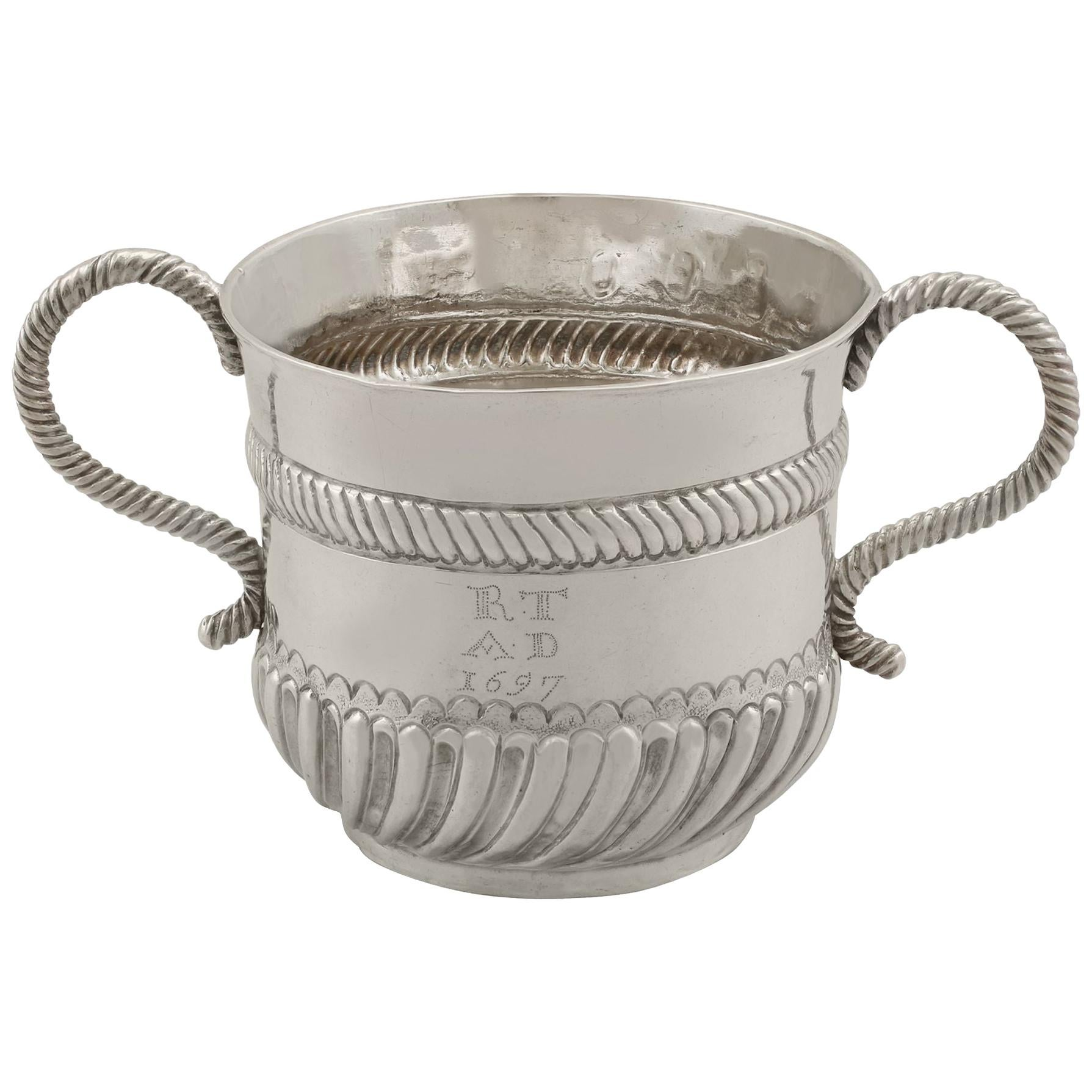 Antique William III Britannia Standard Silver Porringer