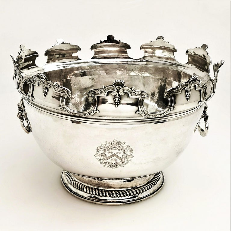 A magnificent William III Antiquesolid Silver Punch Bowl with an original removable silver collar, allowing for use as a traditional punch bowl or as an elegant serving bowl. The Bowl is typical of the period although notably large, and is