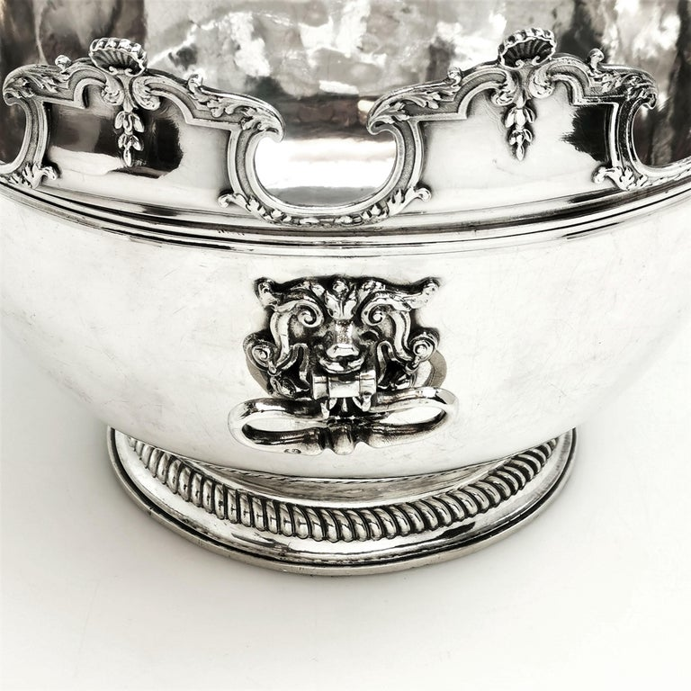 Early 18th Century Antique William III Sterling Silver Punch Bowl / Large Bowl 1701 For Sale