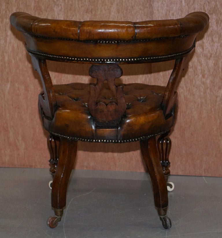 Antique William IV Aged Brown Leather Chesterfield Fully Restored Captains Chair For Sale 12