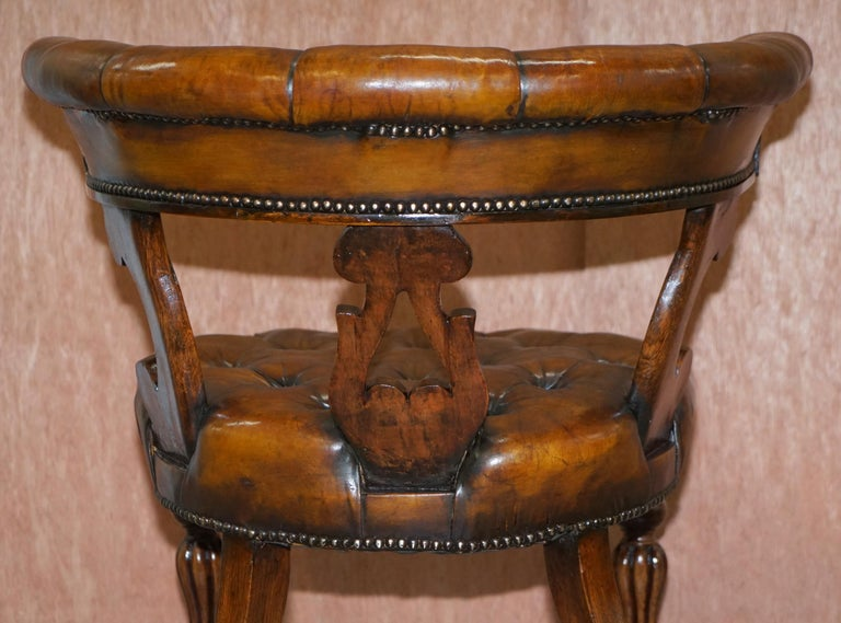 Antique William IV Aged Brown Leather Chesterfield Fully Restored Captains Chair For Sale 13