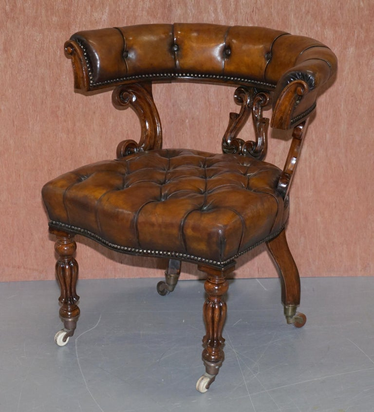 English Antique William IV Aged Brown Leather Chesterfield Fully Restored Captains Chair For Sale