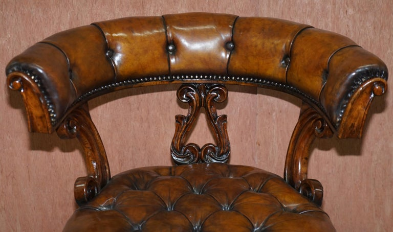 Mid-19th Century Antique William IV Aged Brown Leather Chesterfield Fully Restored Captains Chair For Sale