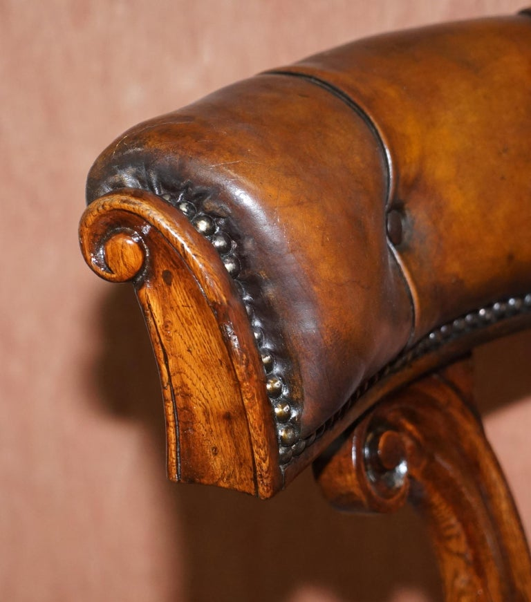 Antique William IV Aged Brown Leather Chesterfield Fully Restored Captains Chair For Sale 2